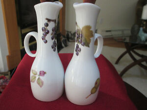 Pretty Evesham Oil/Vinegar Bottles x 2 Royal Worcester England