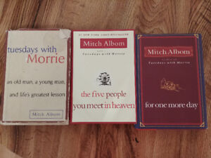 Mitch Albom books. Hardcover. $5 each or $12 or all.