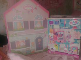 Baby born shop, house,2 dolls & more