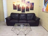 Big Brown Leather 3 Seater Sofa