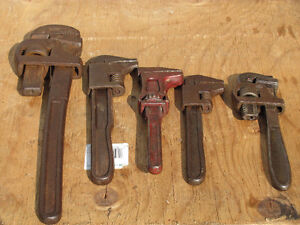 COLLECTION OF OLD VINTAGE PIPE WRENCHES