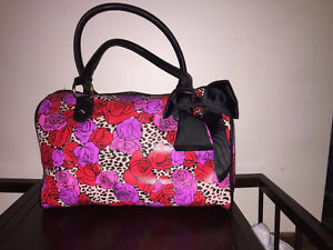 Betsey Johnson Roses & Leopard Print Purse with Bow
