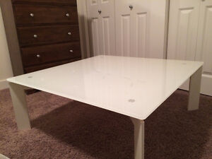 Modern White Glass Top Coffee Table