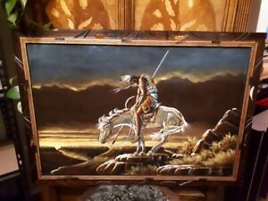 Native artwork signed Senchal - Warrior on Horse - 40 x 27.5 in