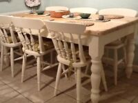 Family Pine Farmhouse Dining Table And Six Chairs