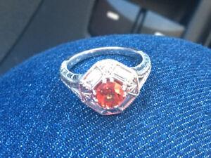 18k white gold diamond and orange sapphire ring custk