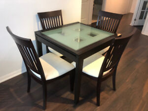 Tempered Glass Extendable Dining Table + 4 Chairs