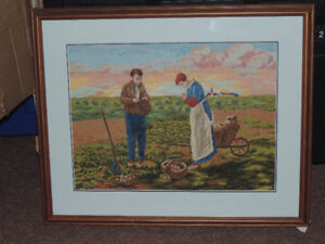 Custom Framed Needle-Point Pictures - The Harvest & The Gleaners