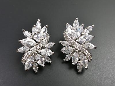 Cubic Zirconia Cluster Earrings - Elegant Shiny Silver Rhodium Plated CZ Cubic Zirconia Leaf Cluster Stud Earrings