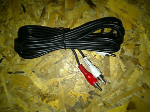 RCA twin cable for audio connection to TV, VCR, DVD, receiver...