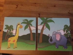 Cadres animaux pour chambre d'enfant