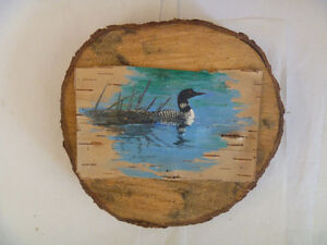 COMMON LOON Birchbark Paintings - several to choose from