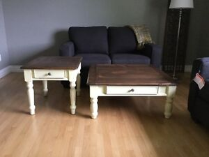 Lovely Lg square coffee table and matching end table
