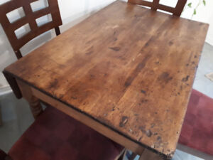 antique table and kitchen chairs