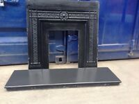 Solid Victorian Cast Iron Black Fire Surround Back Plate, for gas electric fire Excellent Condition