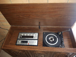 Antique record and radio player