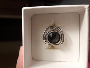 Beautiful Magnolia Silver Ring with Black Onyx Stone