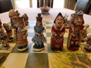 Alice in Wonderland Chess Set - Rare - Hand Painted - U.K.