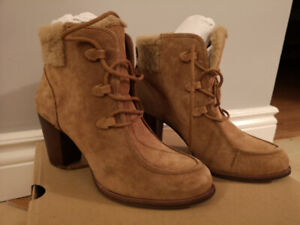 UGG Analise High Heel Ankle Boots w Sheepskin (Size 9 Chestnut)