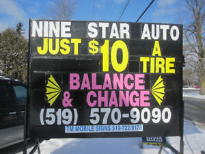 TIRES CHANGE&BALANCE FOR ONLY $10 EACH (ANY SIZE)
