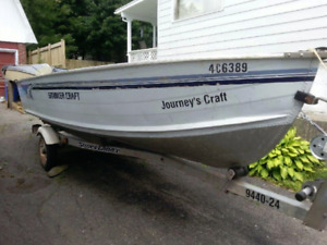 14' ALUMINUM BOAT WITH MOTOR AND THE TRAILER