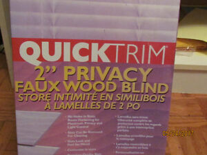 2'' Privacy Faux Wood Blinds. Brand new. Quick Trim.