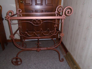 Furniture Glass Top Entertaining Table Wine Rack - $160