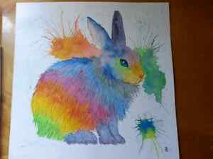 Rabbit of Many Colours - original watercolour (local artist)