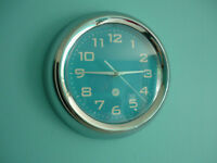 Pretty Turquoise Wall Clock & White Mirror For Sale