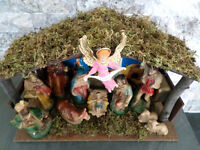 Christmas Decoration Nativity Scene Vintage *With Music Box!!*