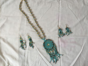 Native Handmade dream catcher necklace and earrings