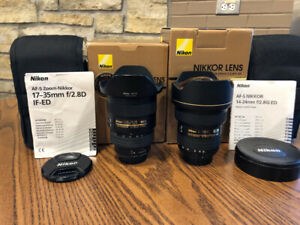 NIKON 14-24mm f2.8 G and 17-35mm f2.8 D lenses
