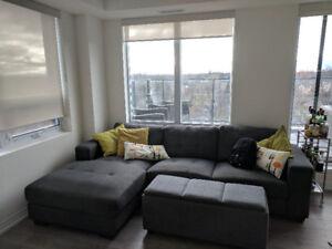 Large Grey Sectional Sofa $600 + Optional Ottoman $100
