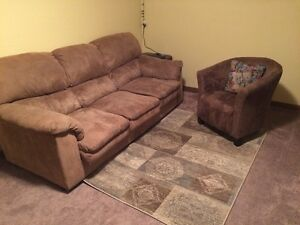 Sofa, Suede chair and rug for sale