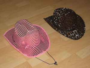 COWBOY HATS (ONE SHINY PINK and ONE LEOPARD)