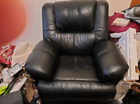 Genuine Leather Recliner Armchair