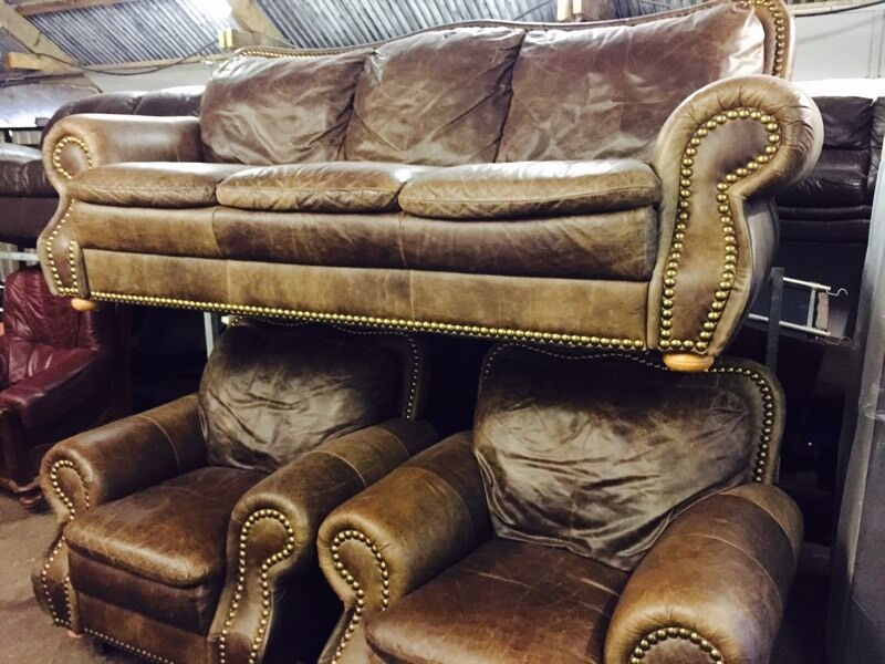 As new full leather hide 3 11 sofa setin Dunmurry, BelfastGumtree - In great condition and can be delivered we our based in Derriaghy lisburn