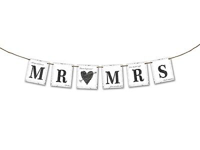 """Hochzeitsbanner, Girlande, Hochzeitsdeko, Hochzeitsauto """"Mr. & Mrs.""""Retro- 77 cm"""