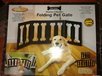 Wooden 3 Panel Folding Pet Gate, New in Box.