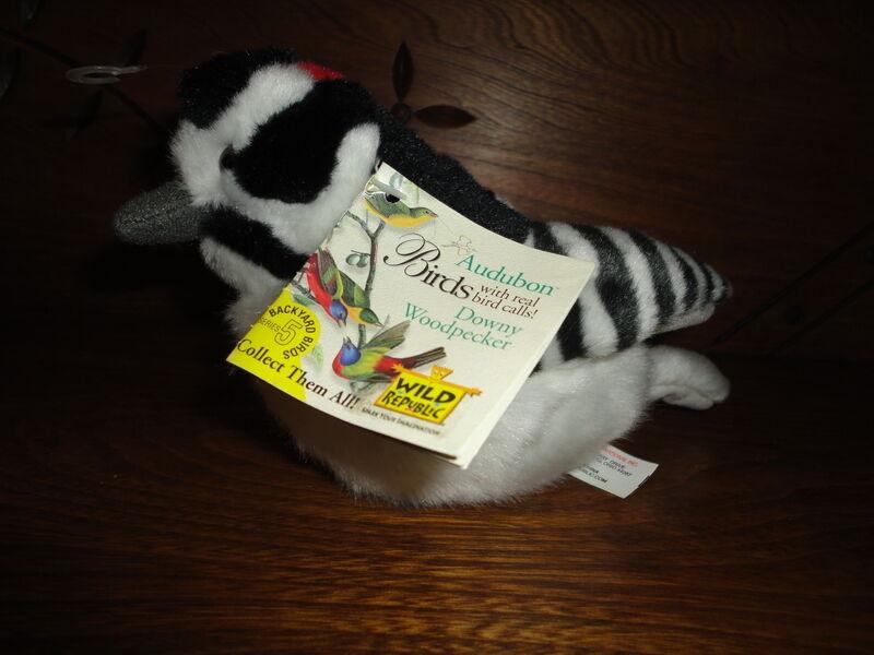 Wild Republic Plush Audubon Birds DOWNY WOODPECKER Real Bird Call K&M with Book