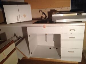 Small Kitchen cabinets w/ countertop sink and taps Clean GC