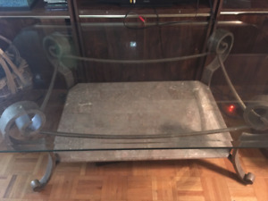 Beveled glass coffee table marble and wrought iron base