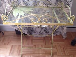 Hand painted corner shelving unit & glass side table night stand West Island Greater Montréal image 7