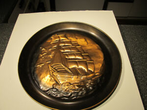 """15"""" wall copper art. Ship themed decorative plate."""