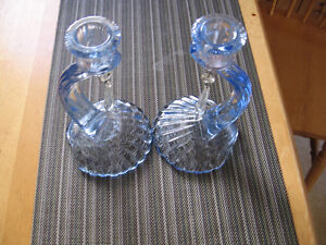 VINTAGE 1930'S ART DECO,BLUE CANDLE HOLDERS