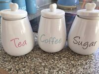 Tea, coffee & sugar matching containers
