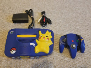 North American Pikachu n64 With Blue Controller
