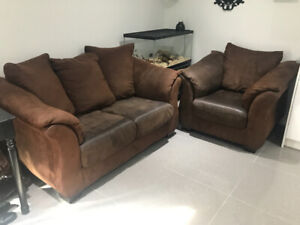 Suede loveseat and chair for sale!