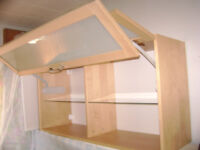 Ikea wood shelf with frosted glass