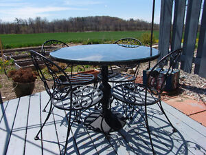 Mid Century Iron Dining Table and 4 Chairs Outdoor